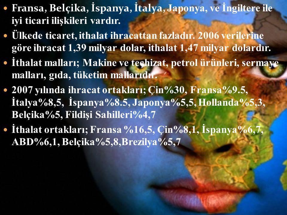 Fransa, Belçika, İspanya, İtalya, Japonya, ve İngiltere ile iyi ticari ilişkileri vardır. Ülkede ticaret, ithalat ihracattan fazladır. 2006 verilerine