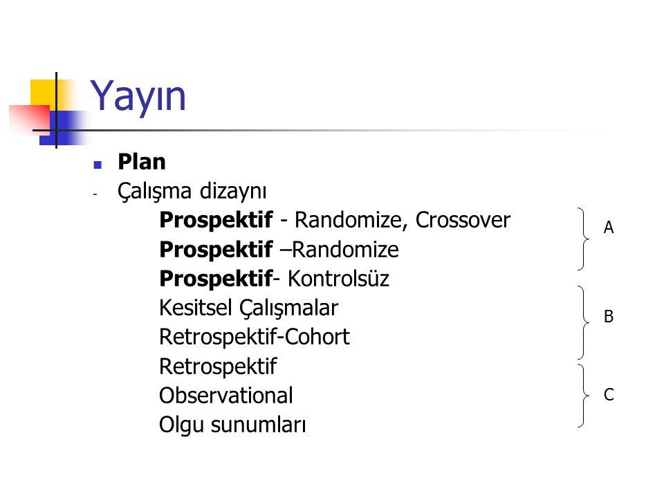 Yayın Plan - Çalışma dizaynı Prospektif - Randomize, Crossover Prospektif –Randomize Prospektif- Kontrolsüz Kesitsel Çalışmalar Retrospektif-Cohort Retrospektif Observational Olgu sunumları A B C