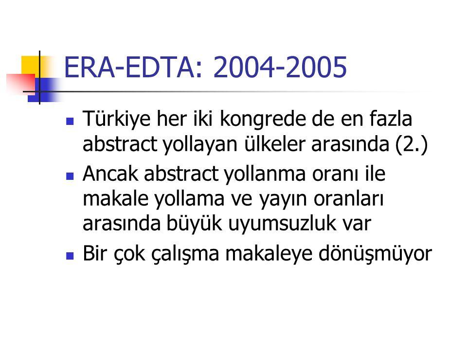 ERA-EDTA: 2004-2005 Türkiye her iki kongrede de en fazla abstract yollayan ülkeler arasında (2.) Ancak abstract yollanma oranı ile makale yollama ve yayın oranları arasında büyük uyumsuzluk var Bir çok çalışma makaleye dönüşmüyor