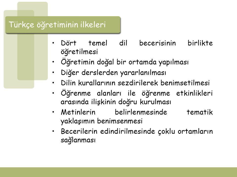 Türkçe öğretiminin ilkeleri Dört temel dil becerisinin birlikte öğretilmesi Türkçenin öğretiminde tümleşik becerilerin geliştirilmesi önemlidir.