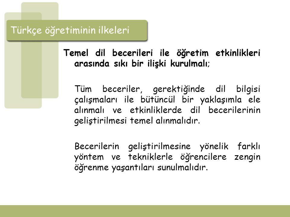Türkçe öğretiminin ilkeleri Metin seçiminde tematik bir yaklaşım izlenmeli; Örn: Sağlık ve Çevre, Birey ve Toplum, Değerlerimiz vb.
