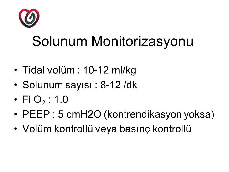 Solunum Monitorizasyonu Tidal volüm : 10-12 ml/kg Solunum sayısı : 8-12 /dk Fi O 2 : 1.0 PEEP : 5 cmH2O (kontrendikasyon yoksa) Volüm kontrollü veya b
