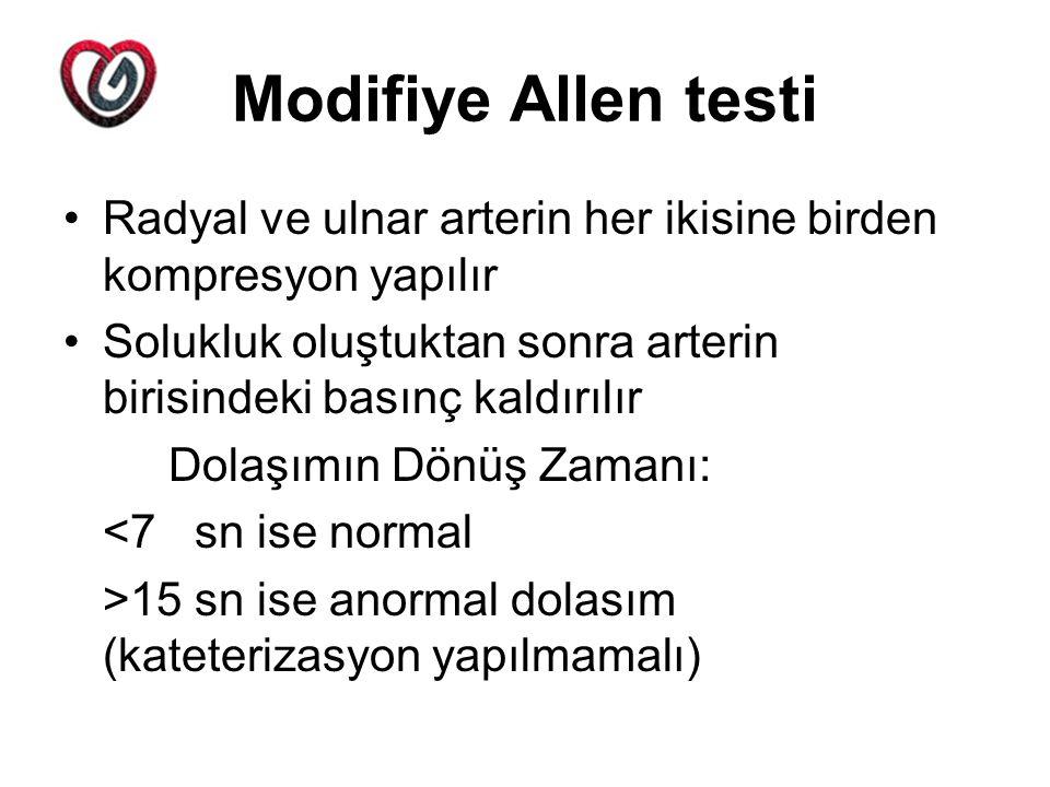 Modifiye Allen testi Radyal ve ulnar arterin her ikisine birden kompresyon yapılır Solukluk oluştuktan sonra arterin birisindeki basınç kaldırılır Dol