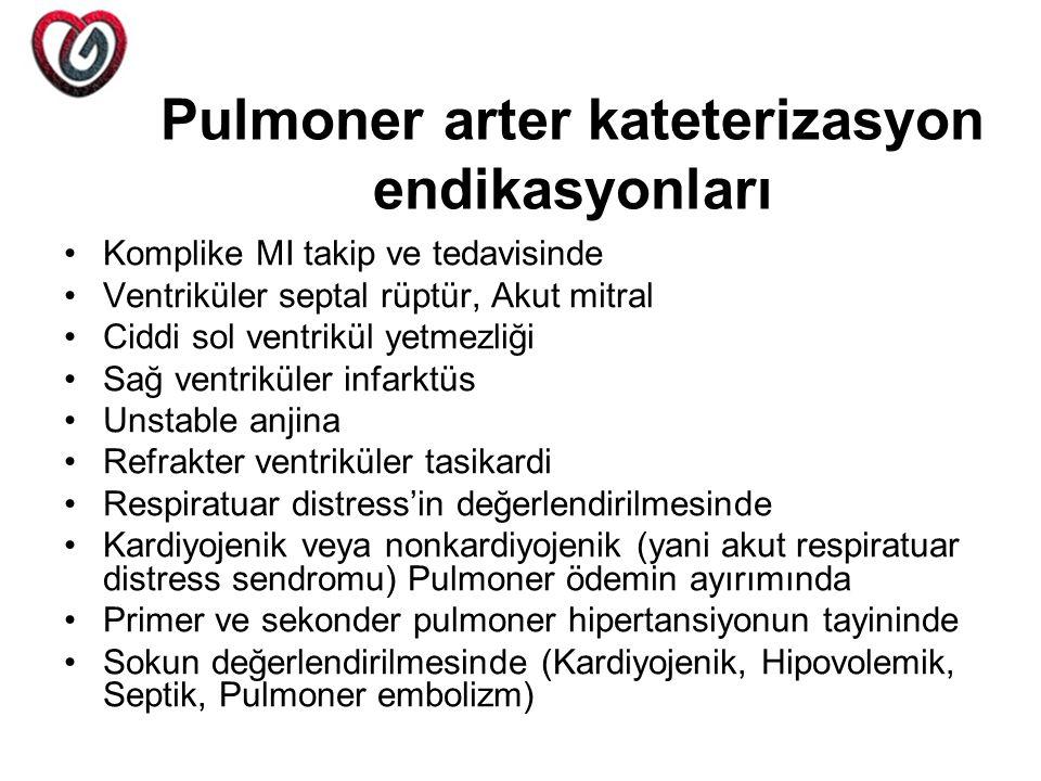 Pulmoner arter kateterizasyon endikasyonları Komplike MI takip ve tedavisinde Ventriküler septal rüptür, Akut mitral Ciddi sol ventrikül yetmezliği Sa