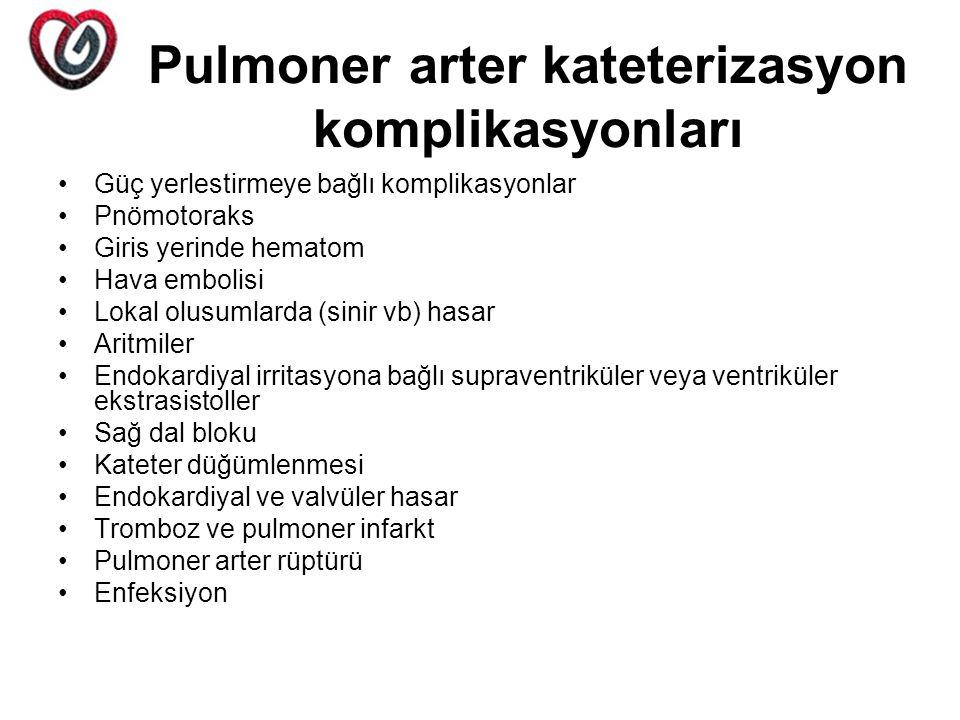 Pulmoner arter kateterizasyon komplikasyonları Güç yerlestirmeye bağlı komplikasyonlar Pnömotoraks Giris yerinde hematom Hava embolisi Lokal olusumlar