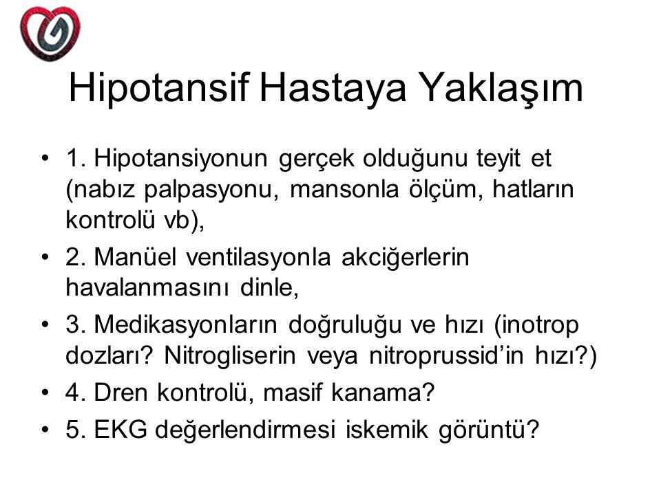 Hipotansif Hastaya Yaklaşım 1. Hipotansiyonun gerçek olduğunu teyit et (nabız palpasyonu, mansonla ölçüm, hatların kontrolü vb), 2. Manüel ventilasyon