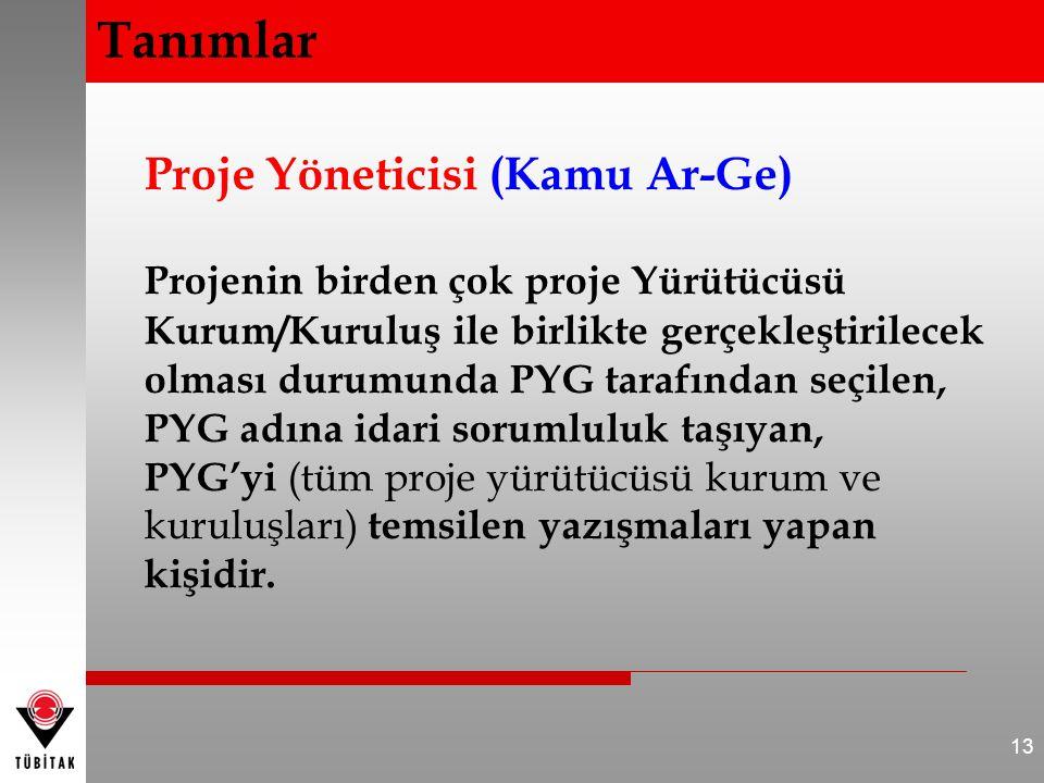 Proje Yöneticisi (Kamu Ar-Ge) Projenin birden çok proje Yürütücüsü Kurum/Kuruluş ile birlikte gerçekleştirilecek olması durumunda PYG tarafından seçil