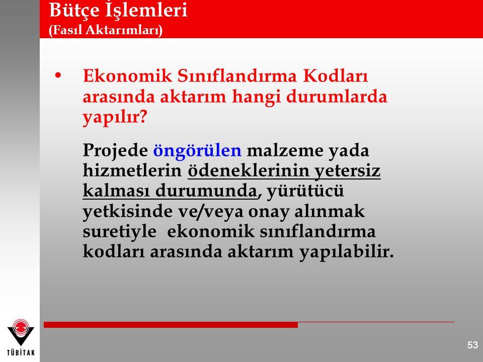 Bütçe İşlemleri (Fasıl Aktarımları) Ekonomik Sınıflandırma Kodları arasında aktarım hangi durumlarda yapılır? Projede öngörülen malzeme yada hizmetler