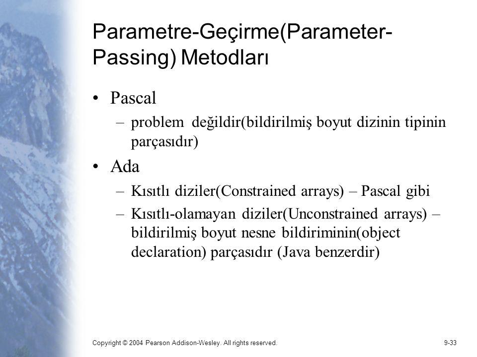 Copyright © 2004 Pearson Addison-Wesley. All rights reserved.9-33 Parametre-Geçirme(Parameter- Passing) Metodları Pascal –problem değildir(bildirilmiş