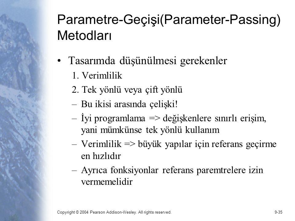 Copyright © 2004 Pearson Addison-Wesley. All rights reserved.9-35 Parametre-Geçişi(Parameter-Passing) Metodları Tasarımda düşünülmesi gerekenler 1. Ve