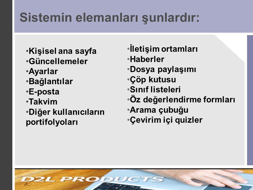 Sistemin elemanları şunlardır: İletişim ortamları Haberler Dosya paylaşımı Çöp kutusu Sınıf listeleri Öz değerlendirme formları Arama çubuğu Çevirim i