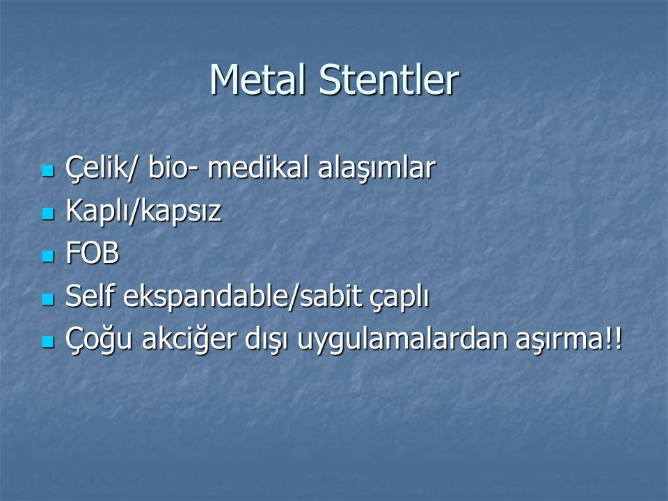 Metal Stentler Çelik/ bio- medikal alaşımlar Çelik/ bio- medikal alaşımlar Kaplı/kapsız Kaplı/kapsız FOB FOB Self ekspandable/sabit çaplı Self ekspand