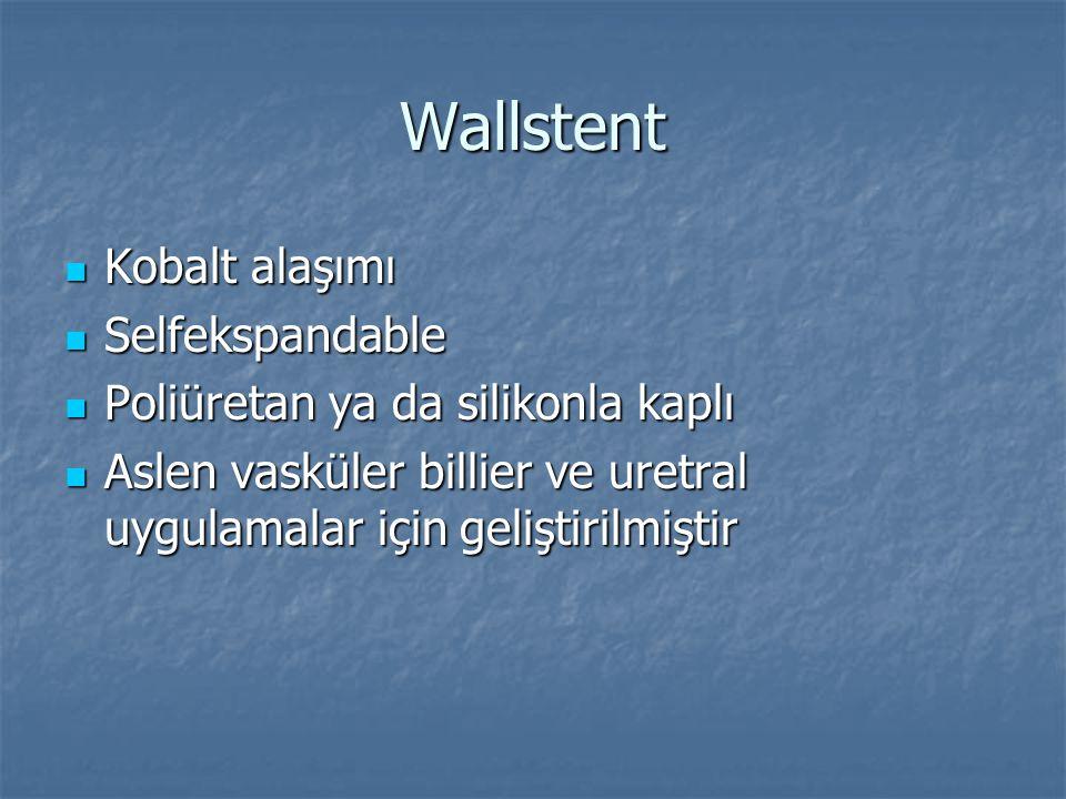 Wallstent Kobalt alaşımı Kobalt alaşımı Selfekspandable Selfekspandable Poliüretan ya da silikonla kaplı Poliüretan ya da silikonla kaplı Aslen vaskül