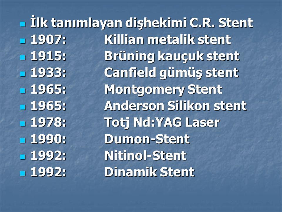 İlk tanımlayan dişhekimi C.R. Stent İlk tanımlayan dişhekimi C.R. Stent 1907:Killian metalik stent 1907:Killian metalik stent 1915:Brüning kauçuk sten