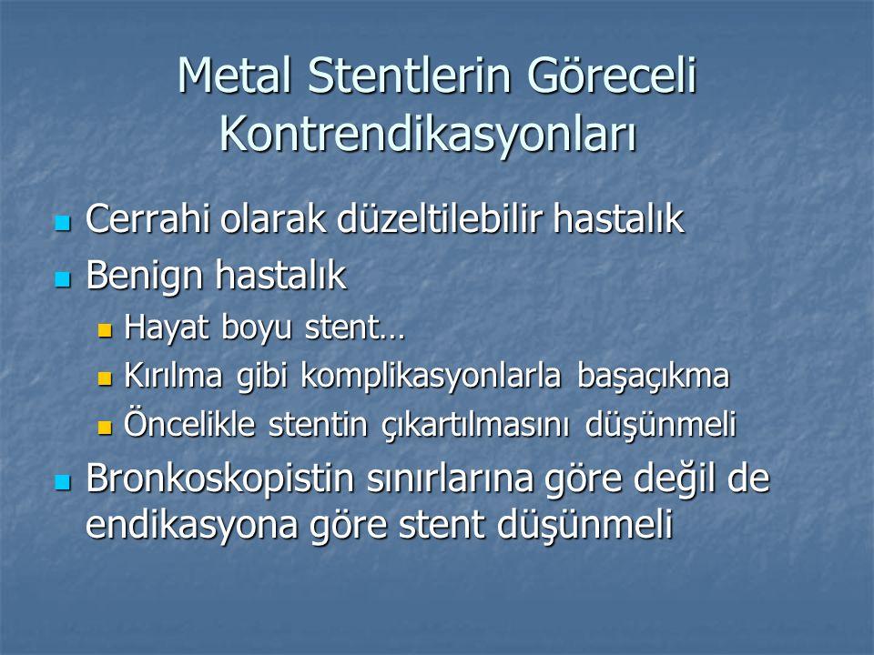 Metal Stentlerin Göreceli Kontrendikasyonları Cerrahi olarak düzeltilebilir hastalık Cerrahi olarak düzeltilebilir hastalık Benign hastalık Benign has