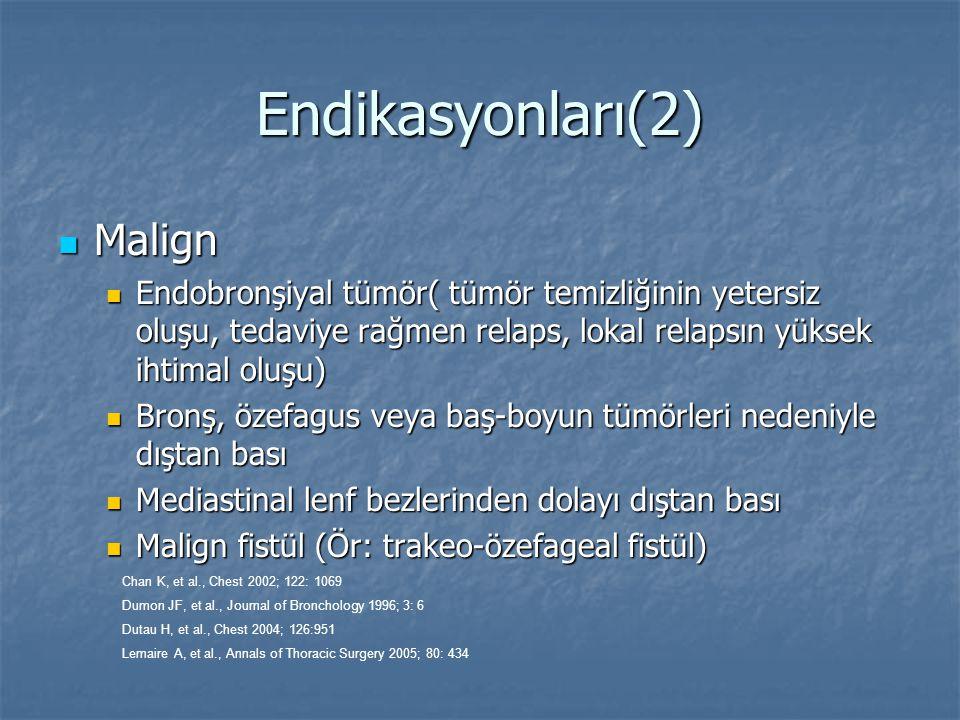 Endikasyonları(2) Malign Malign Endobronşiyal tümör( tümör temizliğinin yetersiz oluşu, tedaviye rağmen relaps, lokal relapsın yüksek ihtimal oluşu) E