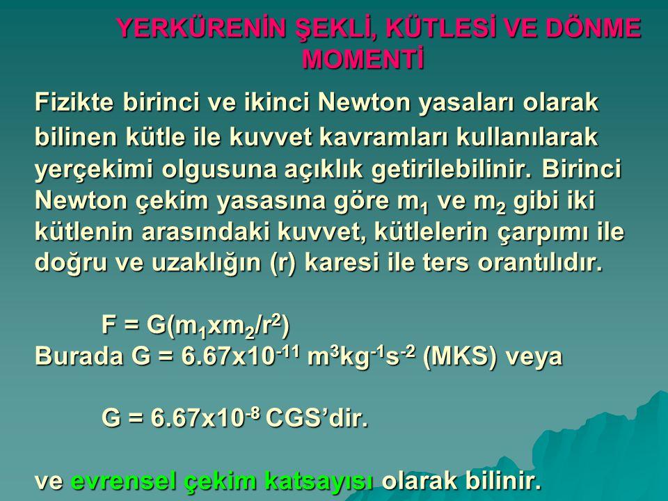 YERKÜRENİN ŞEKLİ, KÜTLESİ VE DÖNME MOMENTİ Fizikte birinci ve ikinci Newton yasaları olarak bilinen kütle ile kuvvet kavramları kullanılarak yerçekimi
