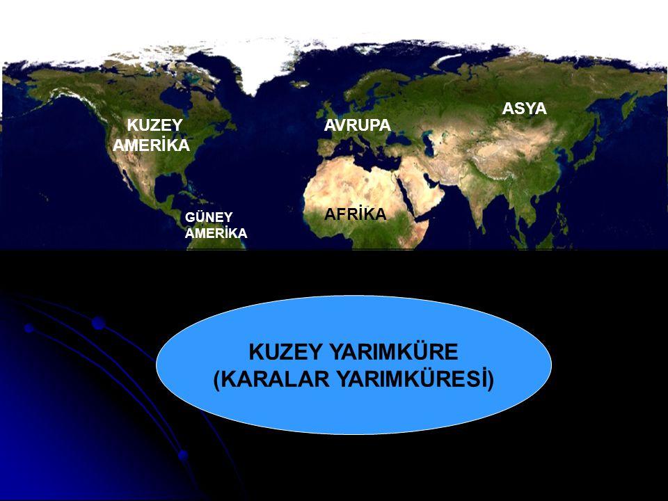 KUZEY YARIMKÜRE (KARALAR YARIMKÜRESİ) AVRUPA ASYA AFRİKA KUZEY AMERİKA GÜNEY AMERİKA