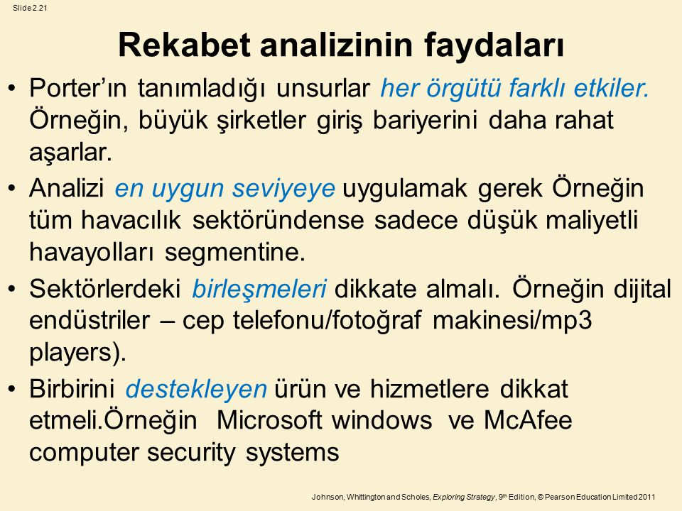 Slide 2.21 Johnson, Whittington and Scholes, Exploring Strategy, 9 th Edition, © Pearson Education Limited 2011 Rekabet analizinin faydaları Porter'ın tanımladığı unsurlar her örgütü farklı etkiler.