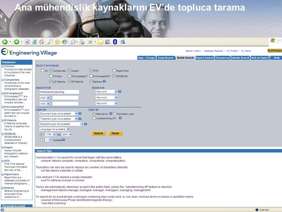 www.ei.org Ana mühendislik kaynaklarını EV'de topluca tarama