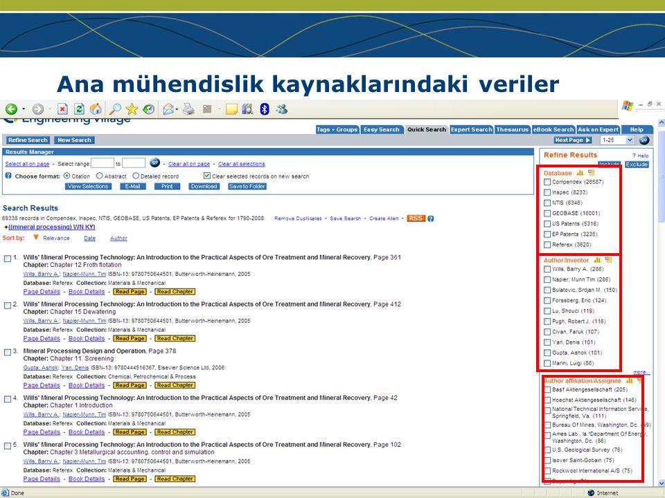 www.ei.org Ana mühendislik kaynaklarındaki veriler