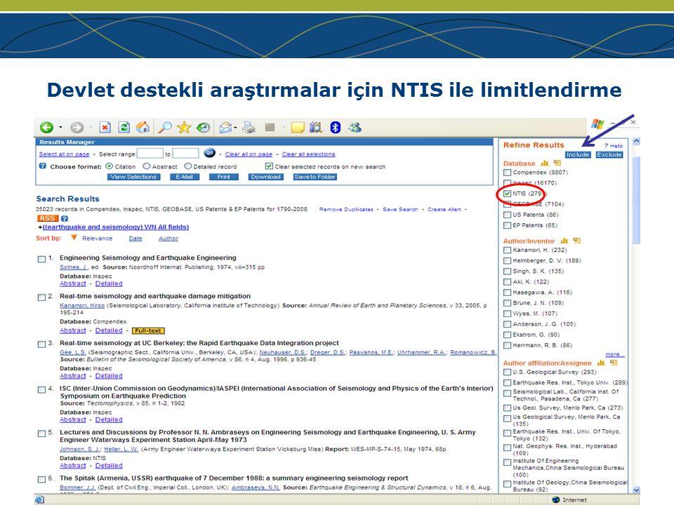 www.ei.org Devlet destekli araştırmalar için NTIS ile limitlendirme