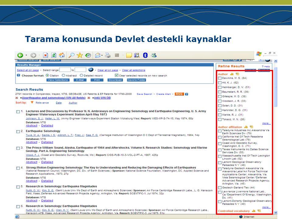 www.ei.org Tarama konusunda Devlet destekli kaynaklar