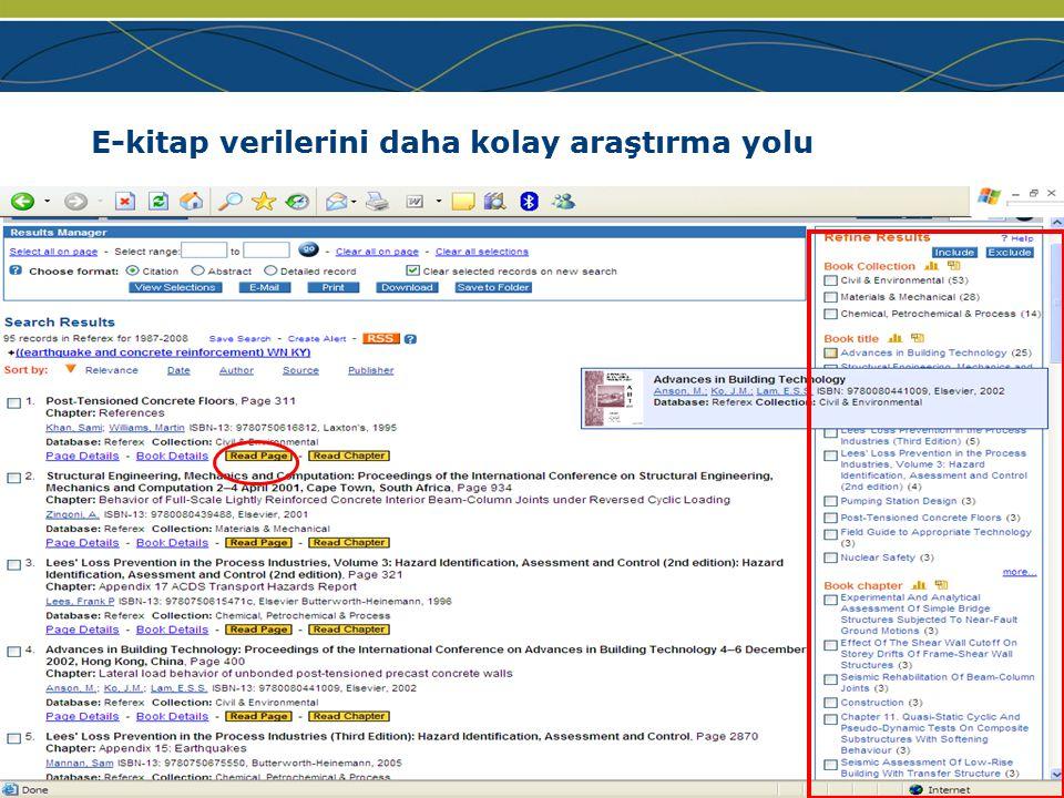 www.ei.org E-kitap verilerini daha kolay araştırma yolu