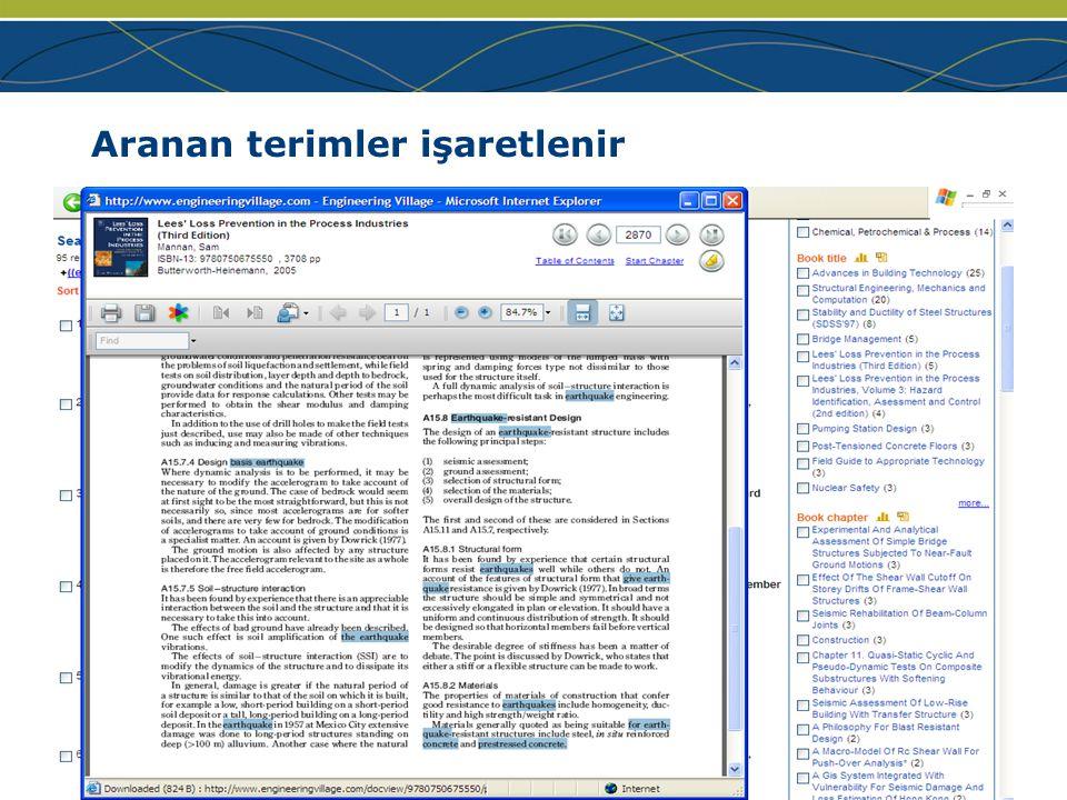 www.ei.org Aranan terimler işaretlenir