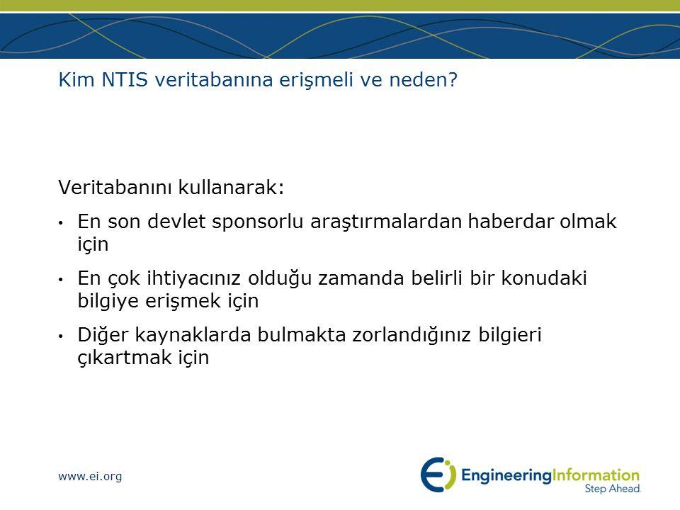 www.ei.org Kim NTIS veritabanına erişmeli ve neden.