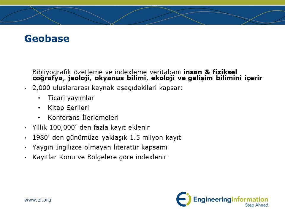 www.ei.org Mühendislik referansları için Referex Editörlerce ustalıkla hazırlanan referans veritabanları detaylı mühendislik cevapları taşırlar Profesyonel referans e-kitap kaynaklıdırlar Çok kapsamlı araştırılabilir - EV teknolojisine sahiptir Mühendislik alanında uzmanlaşmıştır 6 koleksiyon, 1600 den fazla başlık Mekanik & Materyal Kimyasal & Petrokimyasal Elektronik & Elektirik Sivil & Çevresel Bilgisayar Güvenlik & Bilgisayar Ağları (Networks)