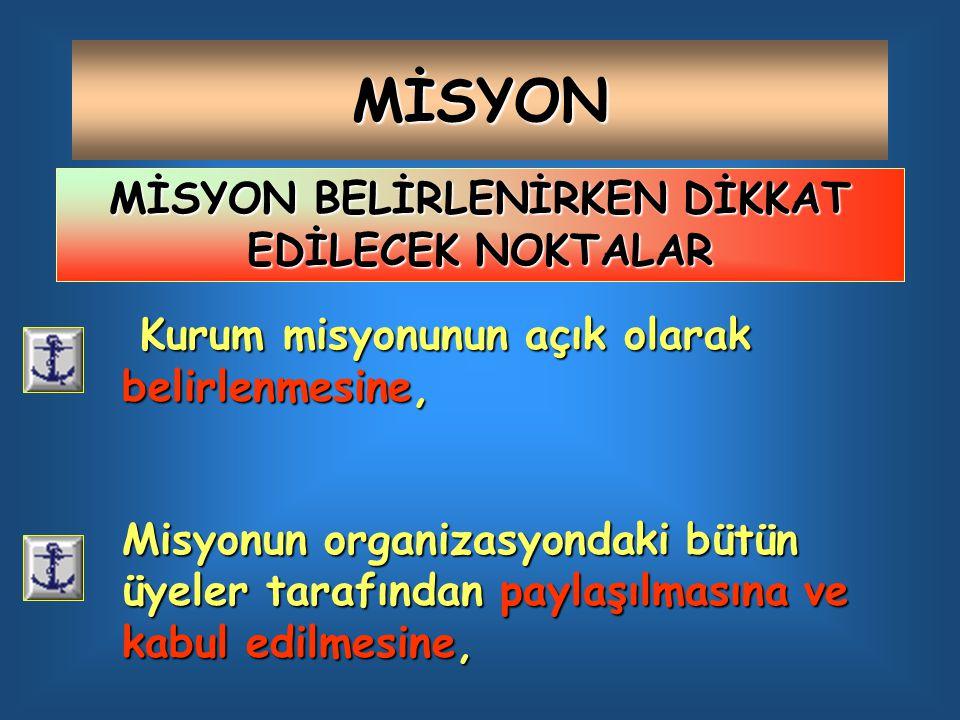 MİSYON Kurum misyonunun açık olarak belirlenmesine, Misyonun organizasyondaki bütün üyeler tarafından paylaşılmasına ve kabul edilmesine, MİSYON BELİRLENİRKEN DİKKAT EDİLECEK NOKTALAR