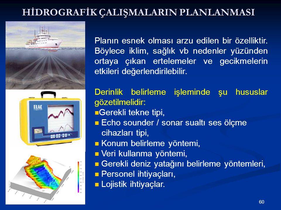 60 HİDROGRAFİK ÇALIŞMALARIN PLANLANMASI Planın esnek olması arzu edilen bir özelliktir.