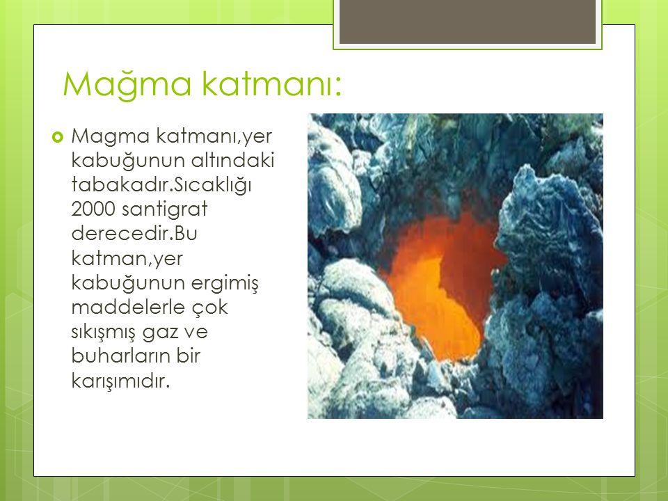 Mağma katmanı:  Magma katmanı,yer kabuğunun altındaki tabakadır.Sıcaklığı 2000 santigrat derecedir.Bu katman,yer kabuğunun ergimiş maddelerle çok sık