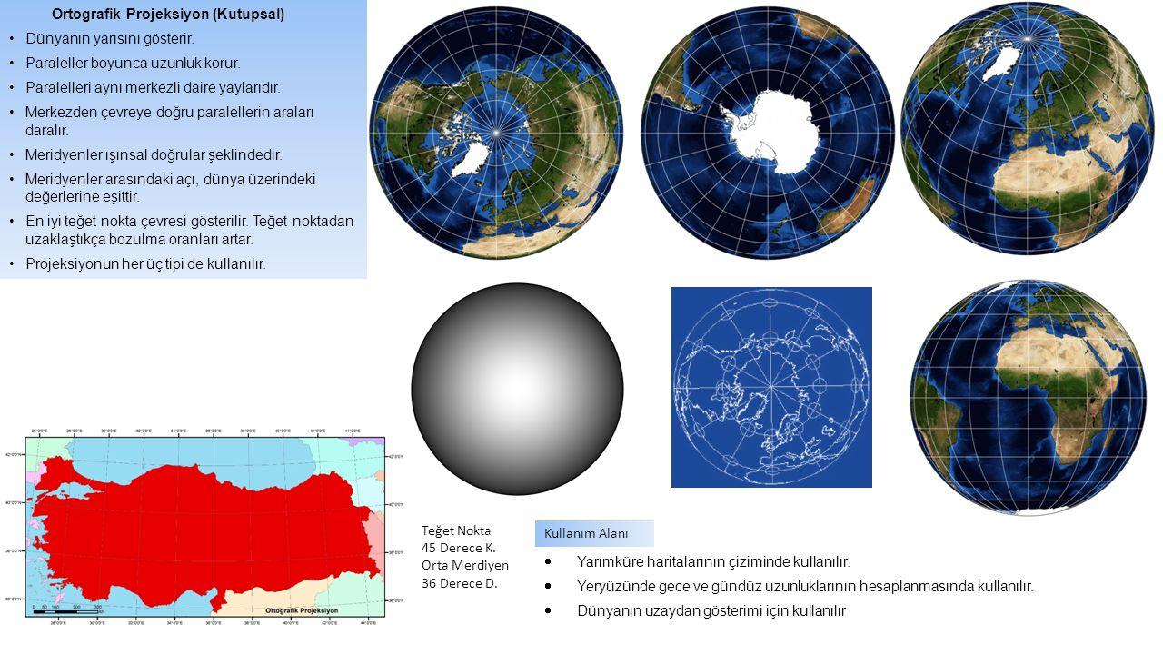 MERKEZİ PROJEKSİYON K 0 2000 km 60 30 0 60 90 K A A' E B C D G B' M Merkezde ışık kaynağı vardır, Çizimler bu ışığın yarattığı izdüşümdür.