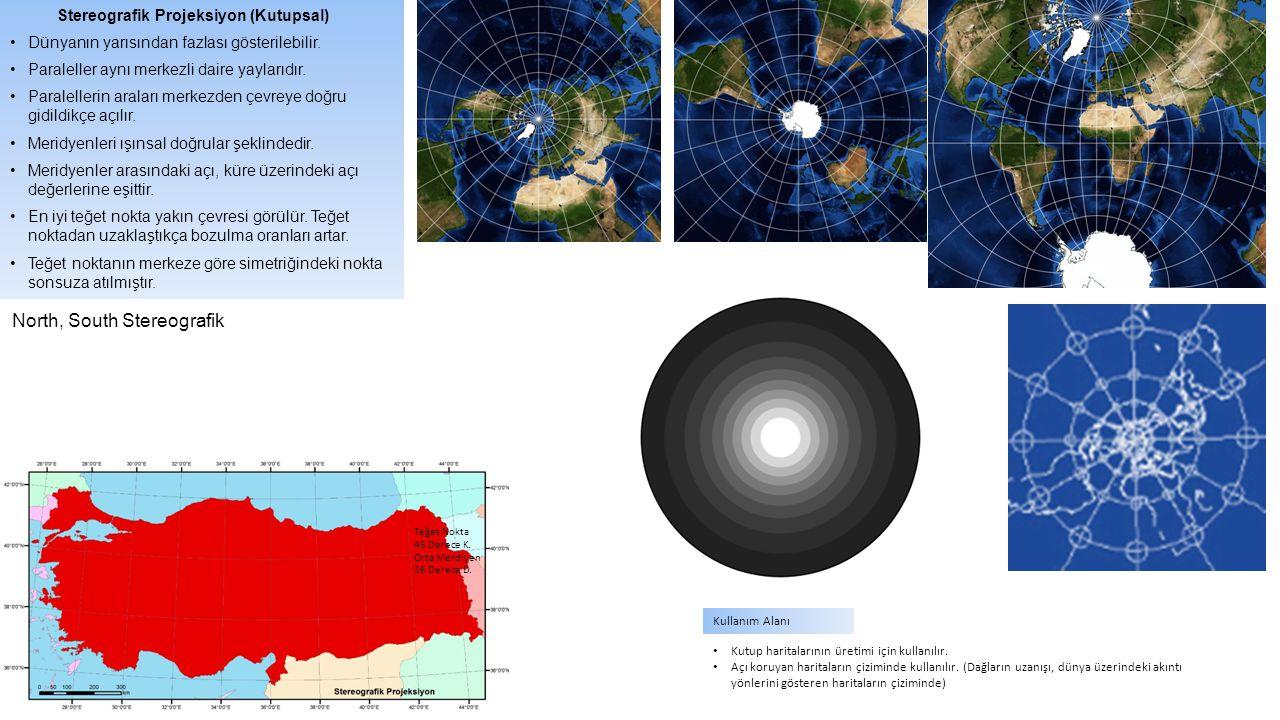 Stereografik Projeksiyon (Kutupsal) Dünyanın yarısından fazlası gösterilebilir. Paraleller aynı merkezli daire yaylarıdır. Paralellerin araları merkez