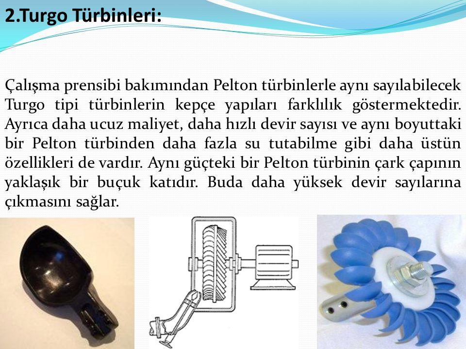 2.Turgo Türbinleri: Çalışma prensibi bakımından Pelton türbinlerle aynı sayılabilecek Turgo tipi türbinlerin kepçe yapıları farklılık göstermektedir.