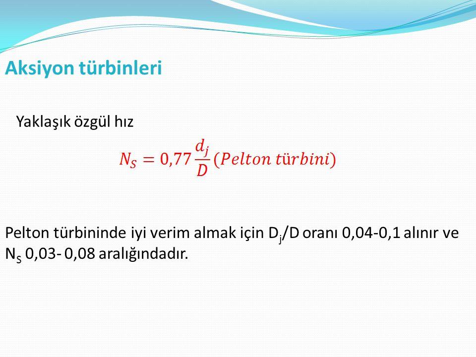 Aksiyon türbinleri Yaklaşık özgül hız Pelton türbininde iyi verim almak için D j /D oranı 0,04-0,1 alınır ve N S 0,03- 0,08 aralığındadır.