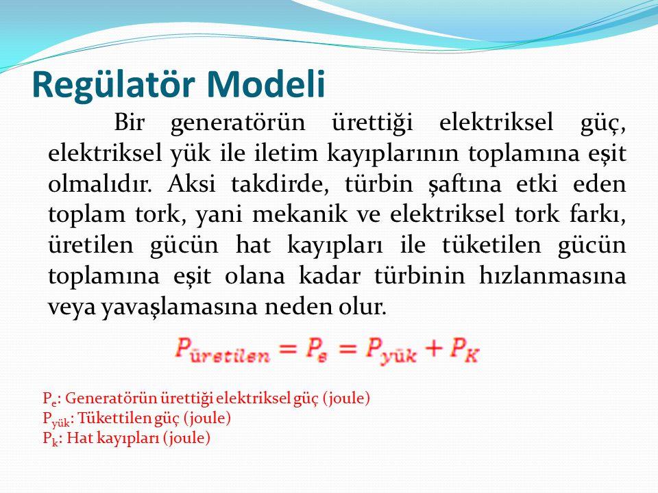 Regülatör Modeli Bir generatörün ürettiği elektriksel güç, elektriksel yük ile iletim kayıplarının toplamına eşit olmalıdır. Aksi takdirde, türbin şaf