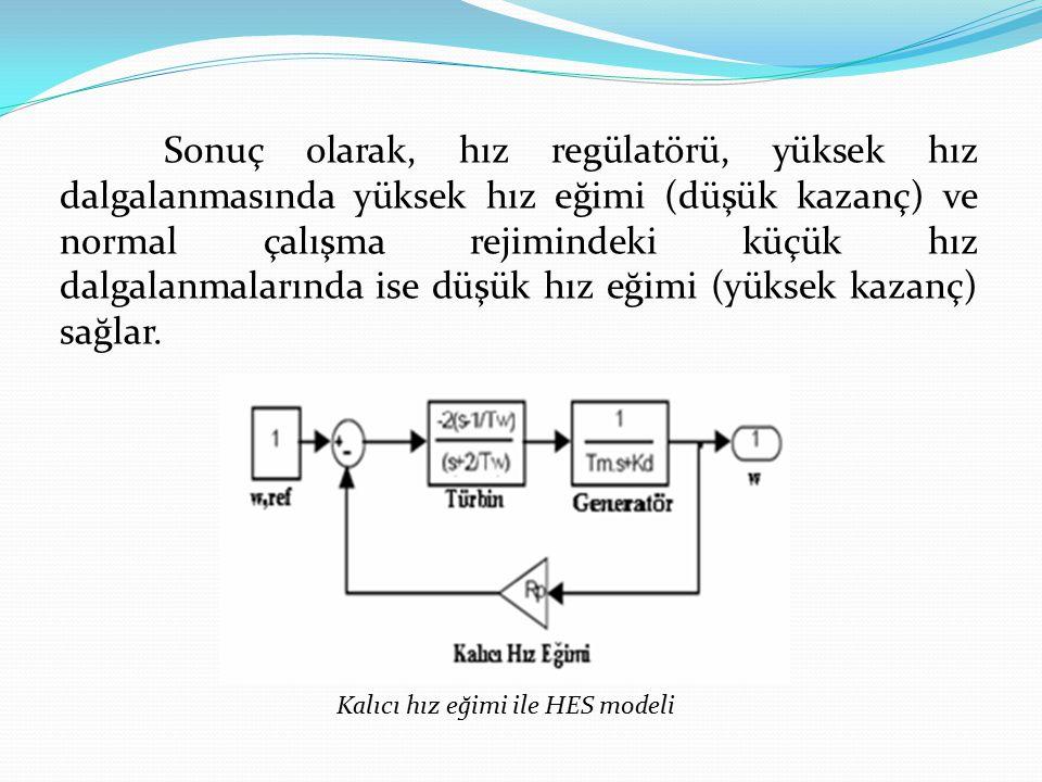 Sonuç olarak, hız regülatörü, yüksek hız dalgalanmasında yüksek hız eğimi (düşük kazanç) ve normal çalışma rejimindeki küçük hız dalgalanmalarında ise