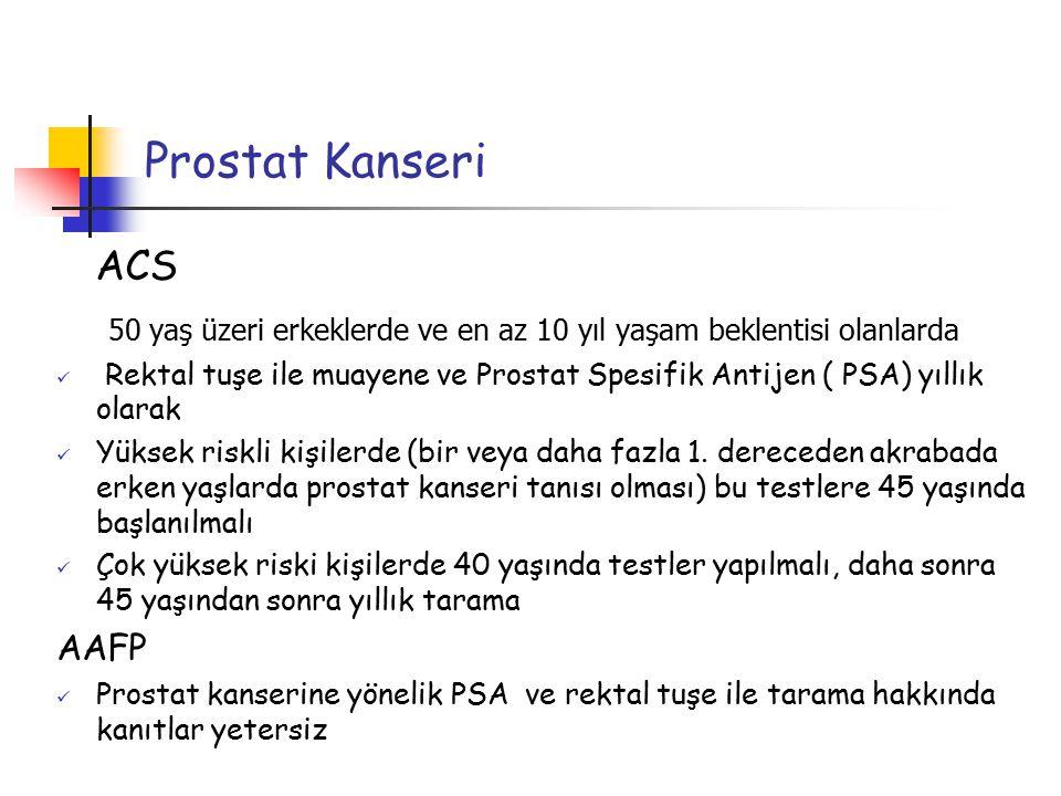 Prostat Kanseri ACS 50 yaş üzeri erkeklerde ve en az 10 yıl yaşam beklentisi olanlarda Rektal tuşe ile muayene ve Prostat Spesifik Antijen ( PSA) yıll