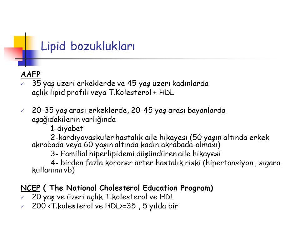 Lipid bozuklukları AAFP 35 yaş üzeri erkeklerde ve 45 yaş üzeri kadınlarda açlık lipid profili veya T.Kolesterol + HDL 20-35 yaş arası erkeklerde, 20-