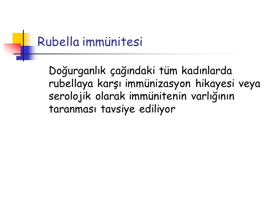 Rubella immünitesi Doğurganlık çağındaki tüm kadınlarda rubellaya karşı immünizasyon hikayesi veya serolojik olarak immünitenin varlığının taranması t