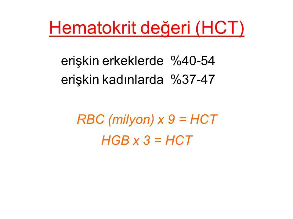 Hematokrit değeri (HCT) erişkin erkeklerde %40-54 erişkin kadınlarda %37-47 RBC (milyon) x 9 = HCT HGB x 3 = HCT