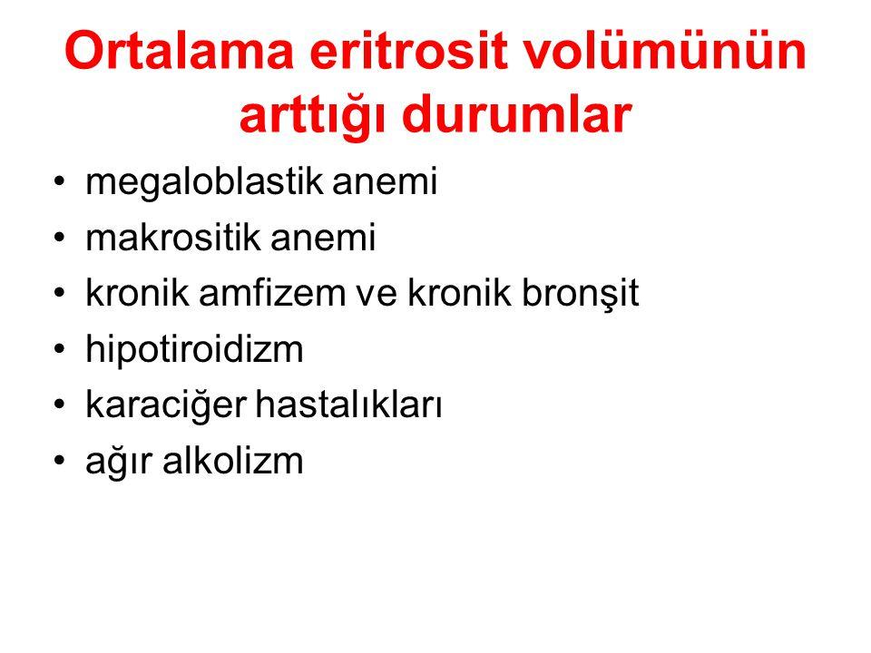 Ortalama eritrosit volümünün arttığı durumlar megaloblastik anemi makrositik anemi kronik amfizem ve kronik bronşit hipotiroidizm karaciğer hastalıkla