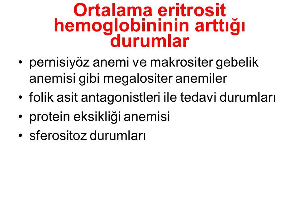 Ortalama eritrosit hemoglobininin arttığı durumlar pernisiyöz anemi ve makrositer gebelik anemisi gibi megalositer anemiler folik asit antagonistleri