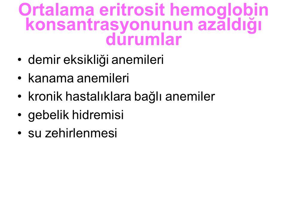 Ortalama eritrosit hemoglobin konsantrasyonunun azaldığı durumlar demir eksikliği anemileri kanama anemileri kronik hastalıklara bağlı anemiler gebeli