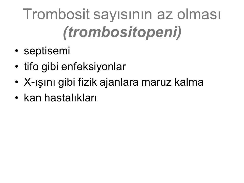 Trombosit sayısının az olması (trombositopeni) septisemi tifo gibi enfeksiyonlar X-ışını gibi fizik ajanlara maruz kalma kan hastalıkları