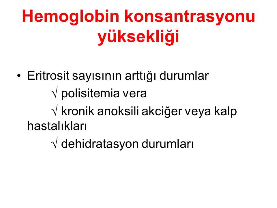 Hemoglobin konsantrasyonu yüksekliği Eritrosit sayısının arttığı durumlar  polisitemia vera  kronik anoksili akciğer veya kalp hastalıkları  dehidr