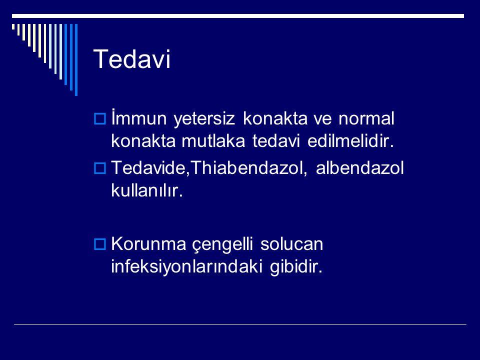 Tedavi  İmmun yetersiz konakta ve normal konakta mutlaka tedavi edilmelidir.  Tedavide,Thiabendazol, albendazol kullanılır.  Korunma çengelli soluc